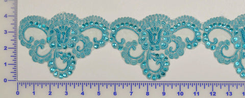 Turquoise Beaded Lace Trim With Sequins & Beads