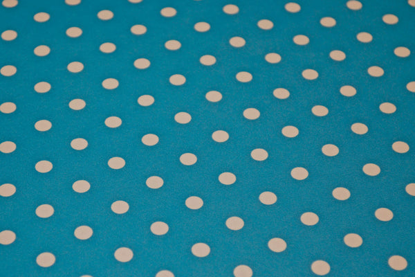 White Dots On Turquoise Matte Tricot