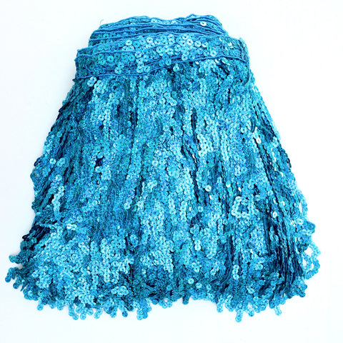 "12"" Turquoise Holographic Sequin Fringe"