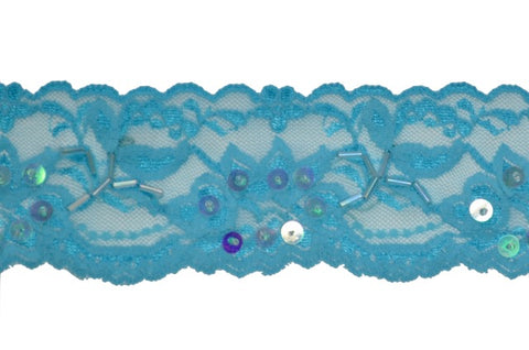 "Turquoise 2"" Stretch Lace w/Sequins & Beads"