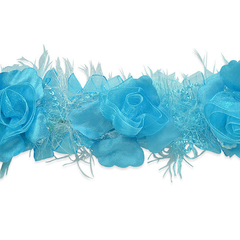 Turquoise Stretch Flower Trim