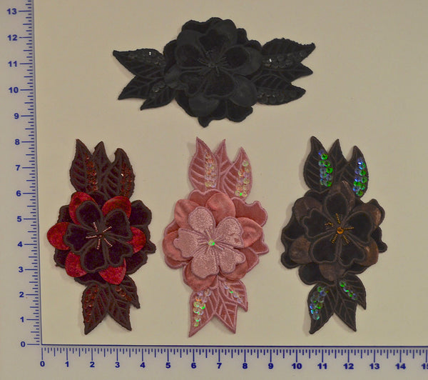 Velvet Appliqué With Sequins And Beads - 4 Colors Available