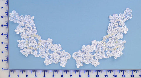 White Appliqué Pair With Sequins And Beads
