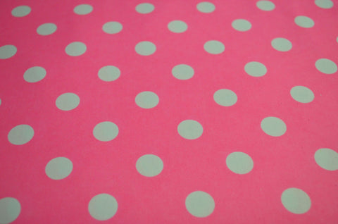 White Polka Dots On Pink Poly Spandex