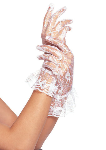 White Wrist Length Gloves With Ruffle