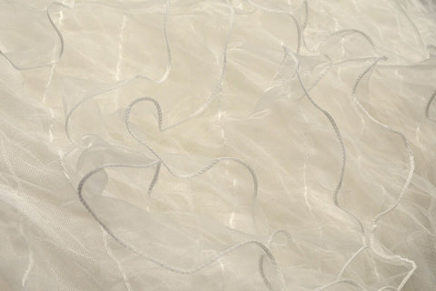 "White Organza 4"" Ruffles On Mesh"