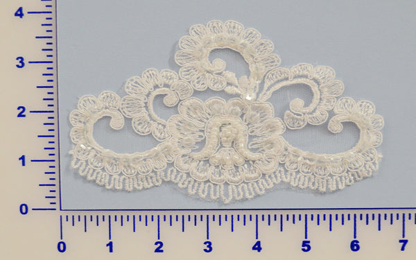 White Beaded Lace Appliqué