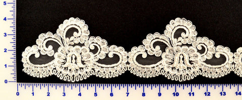 White Beaded Lace Trim With Sequins & Beads