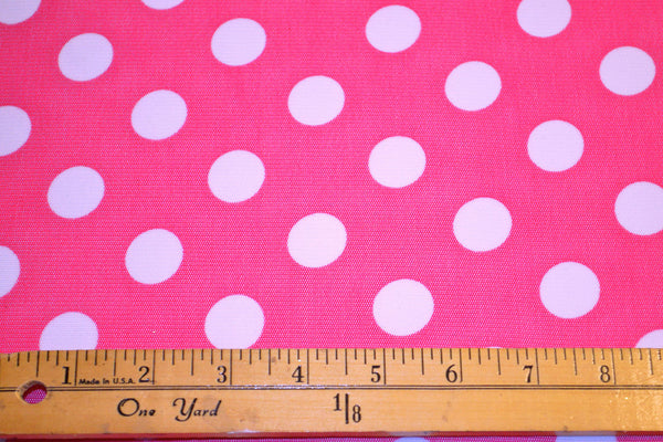 Hot Pink Stretch Mesh w/ White Dots