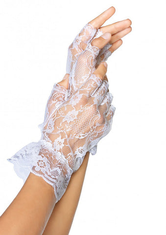 Lace Fingerless Gloves With Ruffle - 2 Colors Available