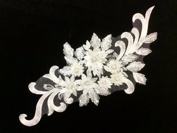 White Appliqué With Sequins And Rhinestones