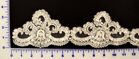 White w/ Silver Metallic Beaded Lace Trim With Sequins