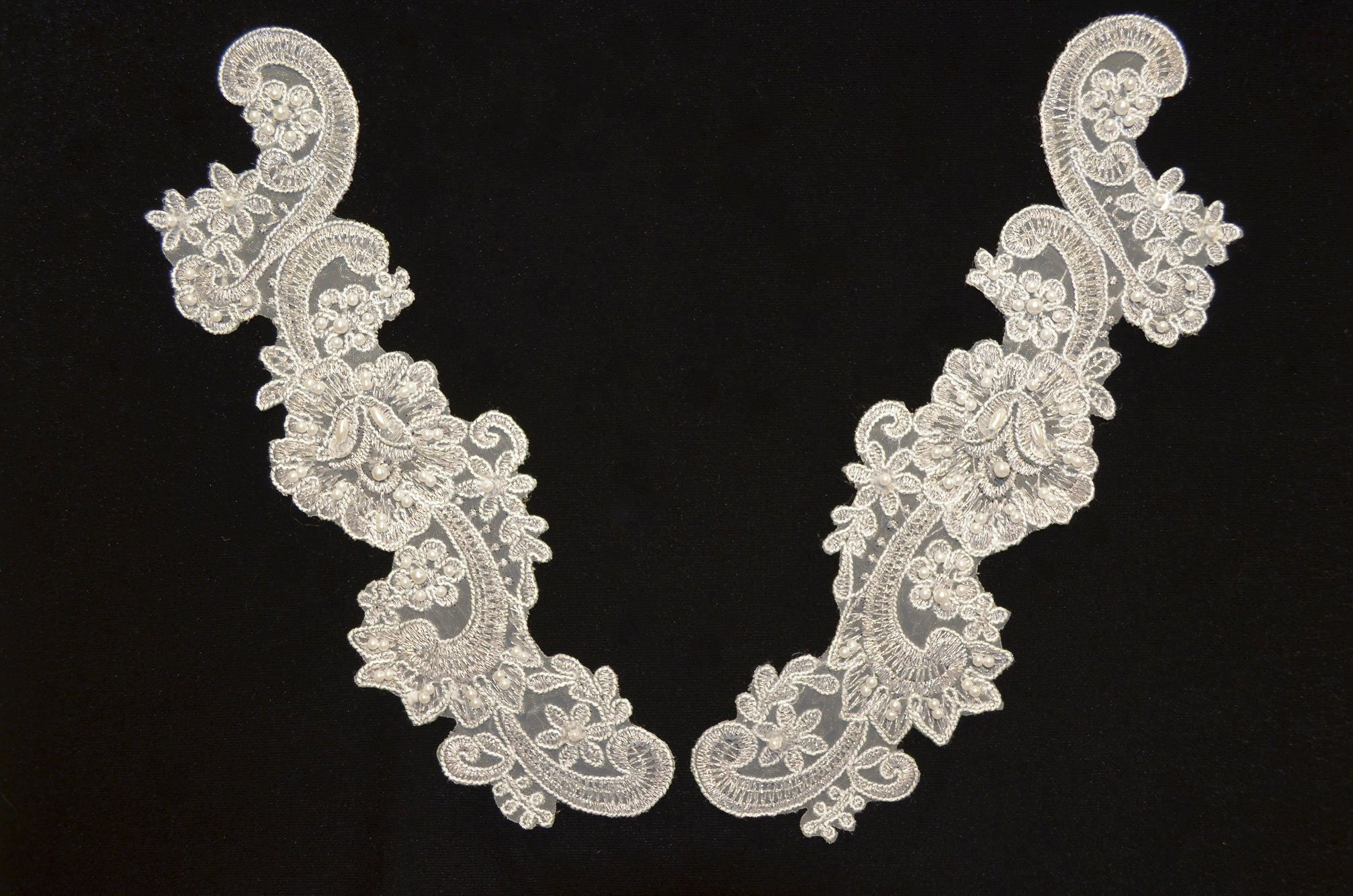 White & silver metallic pair appliqués with sequins and pearls