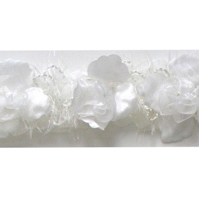 White Stretch Flower Trim
