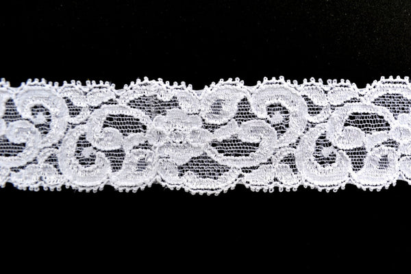 "1 1/4"" Stretch Lace - White"