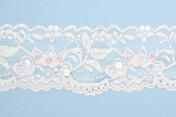 "White 2"" Stretch Lace w/Sequins"