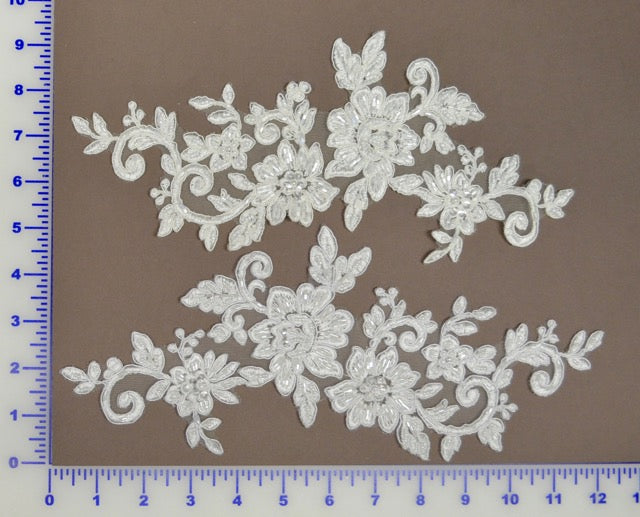Large beaded appliqué pair available in black white & off white