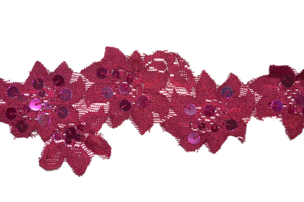 "2"" Stretch Lace w/Sequins - Wine"