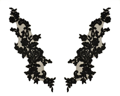 Black X Large Pair Appliqués With Sequins And Beads