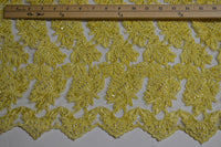 Yellow Beaded And Sequin Corded Bridal Lace - Scalloped Border On Both Edges