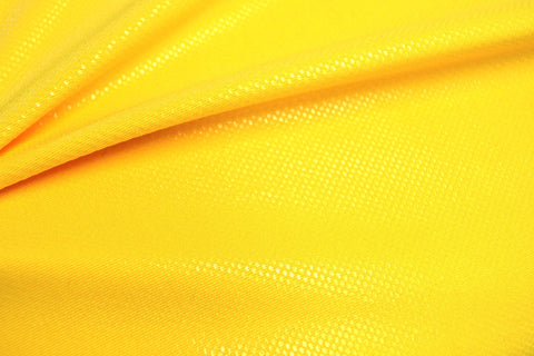 Clear Foil Dots on Yellow Nylon Spandex