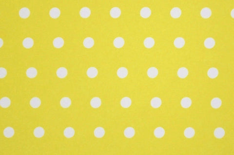 "White 1/4"" Polka Dots On Yellow Poly Spandex"