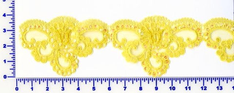 Yellow Beaded Lace Trim With Sequins & Beads