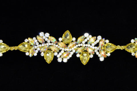 Yellow Gold Rhinestone Trim