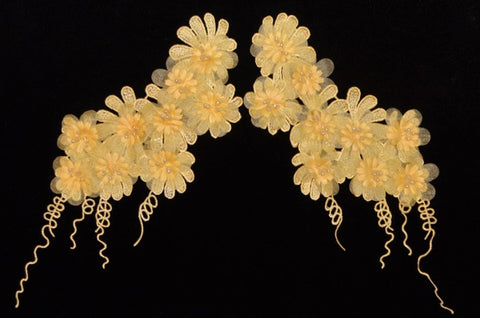 Pale Yellow Flower Appliqué Pair With Beads