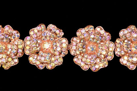AB Rose Gold Flower Rhinestone Trim