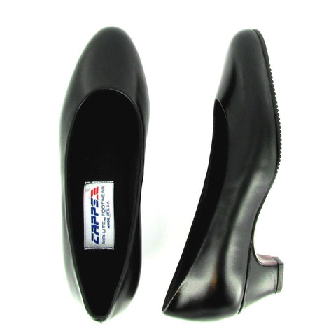 Ace - 90046 - Black Leather Medium Heel Pump
