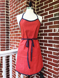 St. Simon's Island Apron in Red Denim