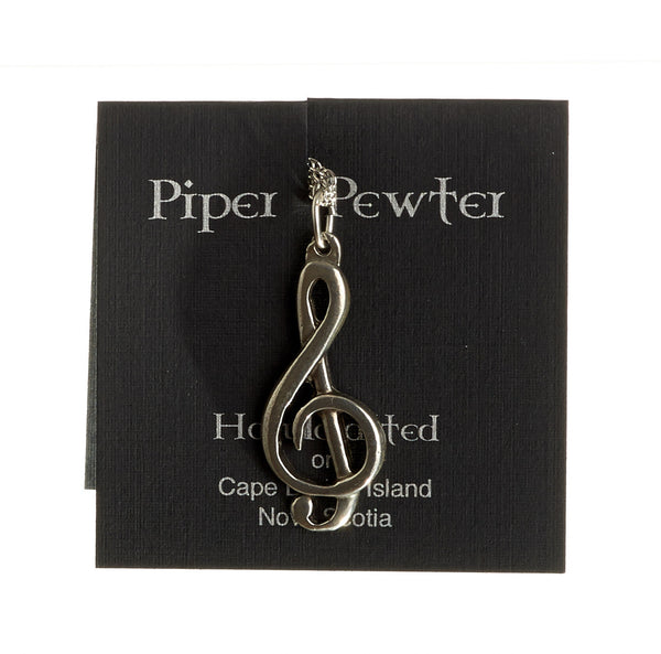 Piper Pewter - Medium Treble Clef Pendant-PD9
