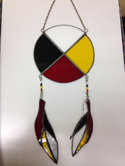Mi'Kmaq Medicine Wheel with Feathers- Stained Glass
