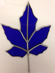Maple Leaf - Blue - Stained Glass