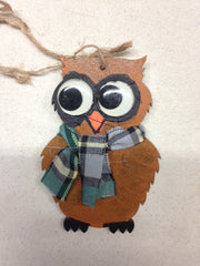 Wooden Owl Christmas Ornament