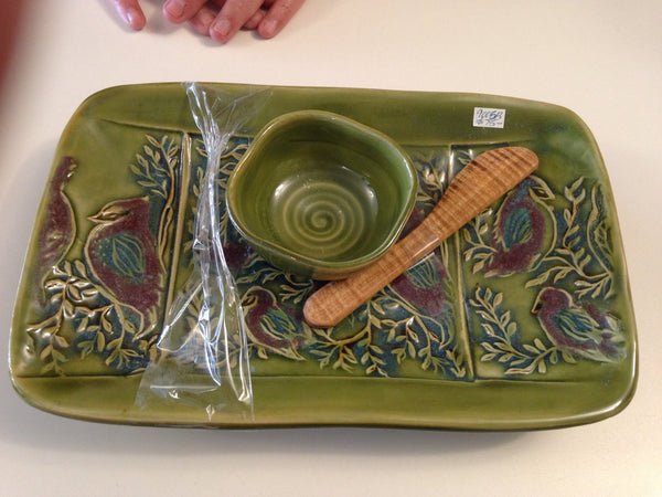 Spring Green Footed Tray