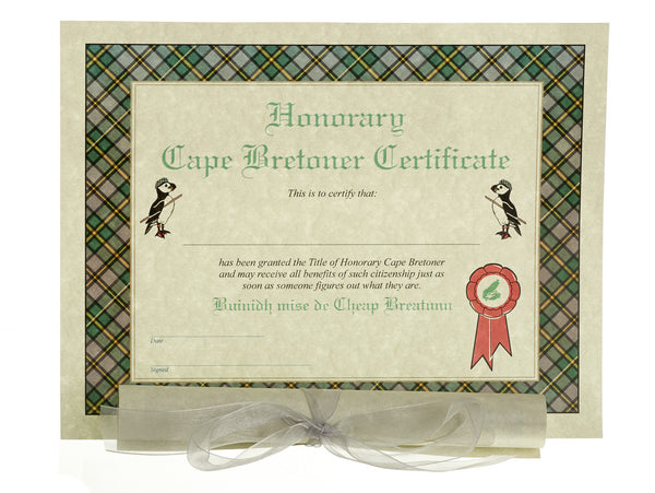 Honorary Cape Bretoner Certificate