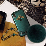3d Luxury Gc Style Diamond Bee Glitter Silicone Designer Iphone Case with Jewel Bracelet Fox Fur - Green / iPhone SE (2nd Gen)