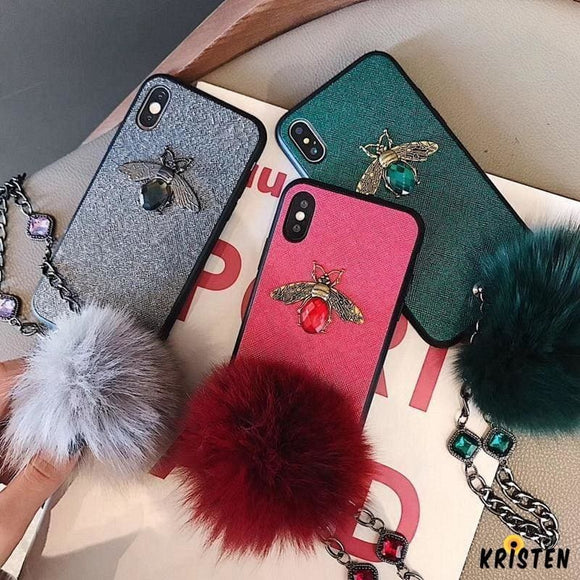3d Luxury Gc Style Diamond Bee Glitter Silicone Designer Iphone Case with Jewel Bracelet Fox Fur - iPhone