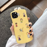 3d Snoopy Style Round Corner Shockproof Protective Designer Iphone Case for Se 11 Pro Max X - Yellow / iPhone SE (2nd Gen)