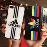 Adidas Logo Originals Tempered Glass Glossy Stripe Designer Iphone Case for X Xs Max Xr 7 - iPhone