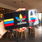 Adidas Logo Originals Tempered Glass Glossy Stripe Designer Iphone Case for X Xs Max Xr 7 - Color / iPhone