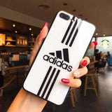 Adidas Logo Originals Tempered Glass Glossy Stripe Designer Iphone Case for X Xs Max Xr 7 - Black&White / iPhone