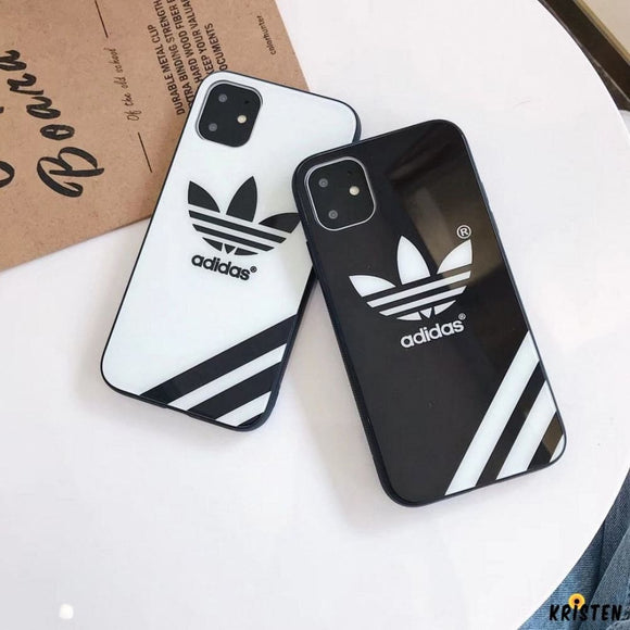 Adidas Style Tempered Glass Designer Iphone Case for Se 11 Pro Max X Xs Xr 7 8 plus - iPhone