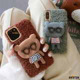 Bear with Glasses Furry Bumper Frame Shockproof Protective Designer Iphone Case for 12 Pro Max Mini