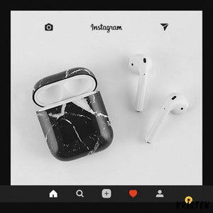 Black Marble Classic Protective Shockproof Case for Apple Airpods 1 & 2 - AirPods