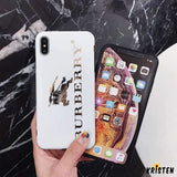 Burberry Style Electroplating Glossy Tpu Silicone Designer Iphone Case for Se 11 Pro Max X Xs - iPhone