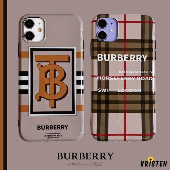 Burberry Style Glossy Silicone Shockproof Protective Designer Iphone Case for Se 11 Pro Max X - iPhone