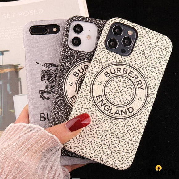 Burberry Style Imitation Leather Protective Designer Iphone Case for 12 Pro Max Mini